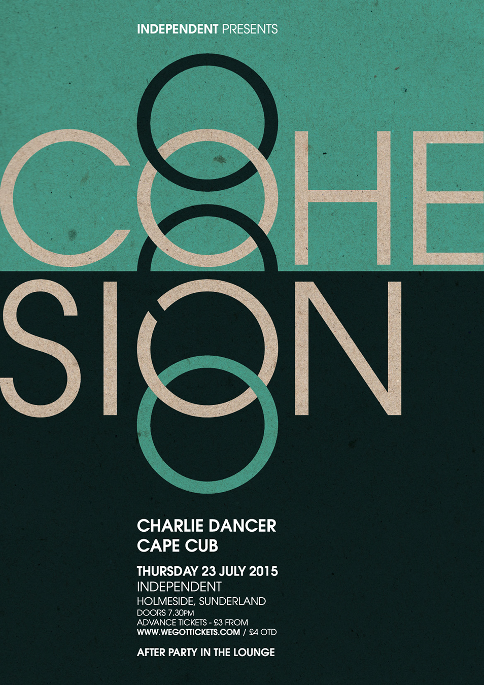 Poster artwork for Cohesion at Independent, Sunderland, 23.07.15.