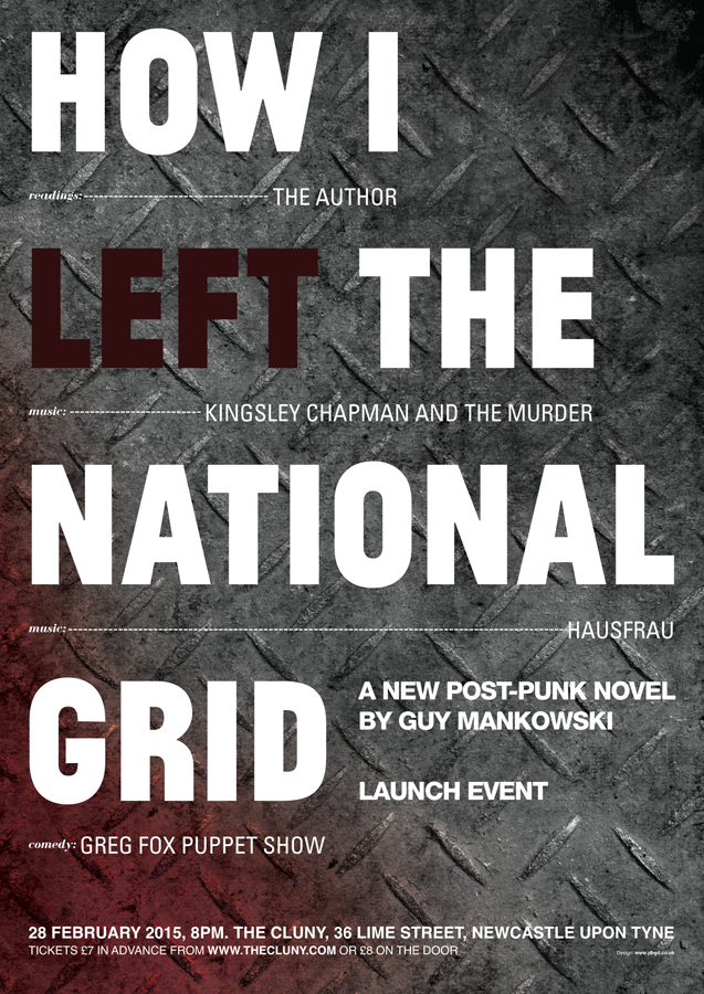 Poster design for the launch event of Newcastle based author, Guy Mankowski's 'H