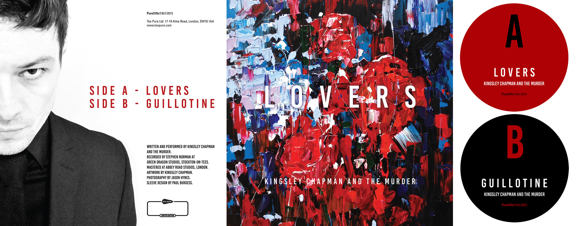 Sleeve/label artwork for 'Lovers/Guillotine' by Kingsley Chapman and the Murder.