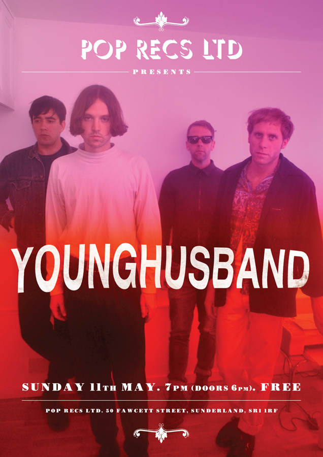 Poster design for Younghusband at Frankie & The Heartstrings' Pop Recs Ltd, Sund